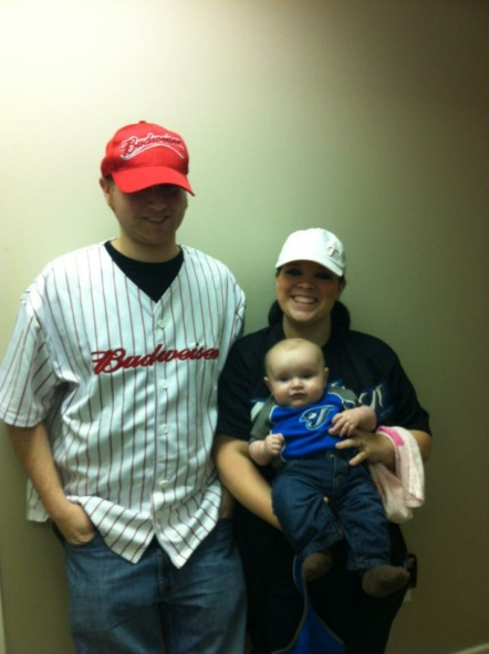 Dressed up as baseball fans for Purim 2012.